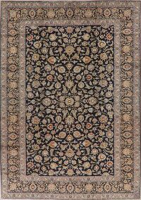 Floral Navy Blue Kashan Persian Area Rug 9x13