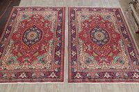 Set of 2 Floral Red Tabriz Persian Area Rug 7x10
