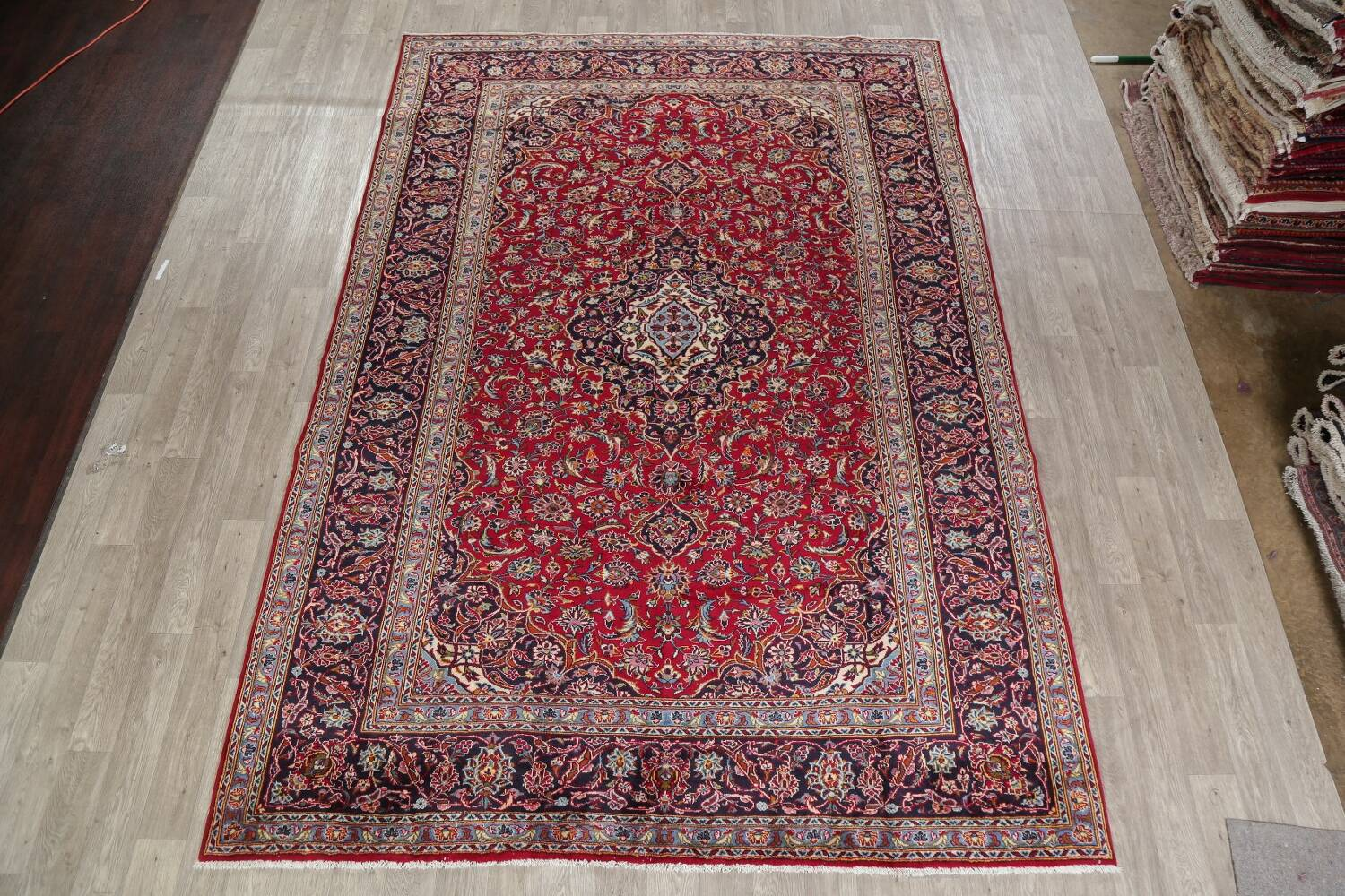 Traditional Floral Red Kashan Persian Area Rug 8x12 image 2