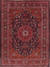 Charcoal Floral Mashad Persian Area Rug 8x11
