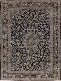 Navy Blue Floral Kashan Persian Area Rug 11x14