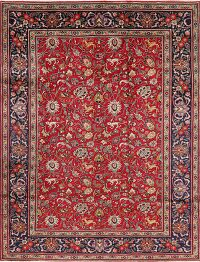 All-Over Floral Red Tabriz Persian Area Rug 8x11
