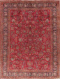Vintage All-Over Floral Mashad Persian Area Rug 10x13