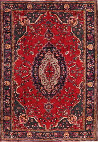 Geometric Red Tabriz Persian Area Rug 8x12