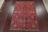 All-Over Floral Red Tabriz Persian Area Rug 7x11
