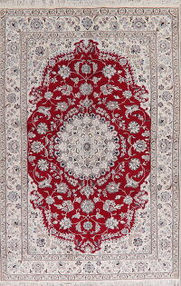 Floral Red Nain Persian Area Rug 7x10