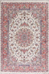 Floral Ivory Tabriz Persian Area Rug 7x10