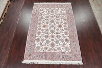 All-Over Floral Ivory Tabriz Persian Area Rug 7x10