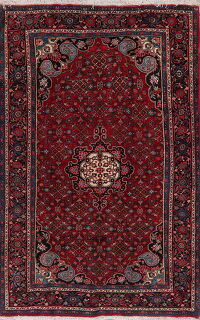 Geometric Red Bidjar Persian Area Rug 5x8