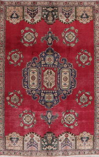 Vintage Geometric Red Tabriz Persian Area Rug 6x9