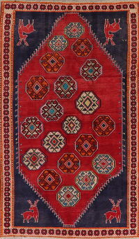 Animal Pictorial Red Gabbeh Shiraz Persian Area Rug 5x9