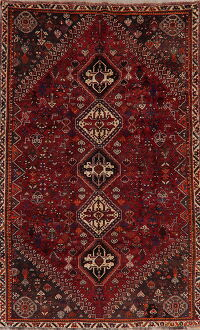 100% Vegetable Dye Tribal Red Abadeh Persian Area Rug 6x9