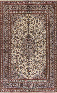 Traditional Floral Ivory Kashan Persian Area Rug 6x9