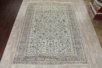 All-Over Floral Green Kashan Persian Area Rug 9x12