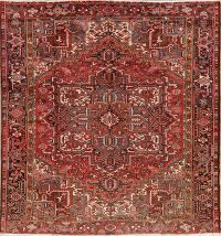 Vintage Geometric Red Heriz Persian Area Rug 8x9