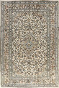 Traditional Floral Ivory Kashan Persian Area Rug 8x12