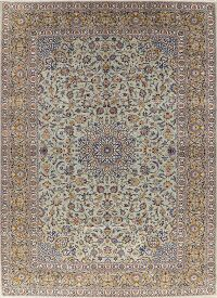 Traditional Green Floral Kashan Persian Area Rug 10x14