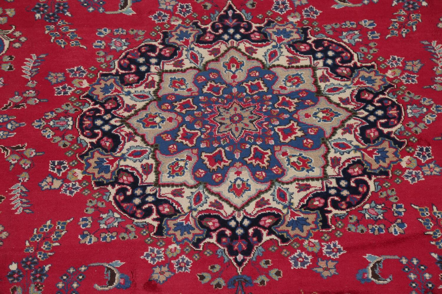 Floral Red Mashad Persian Area Rug 8x11 image 4