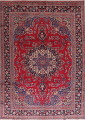 Floral Red Mashad Persian Area Rug 8x11 image 1
