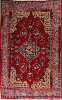Geometric Red Viss Persian Area Rug 7x12