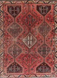 Antique Distressed Geometric Lori Persian Area Rug 6x9