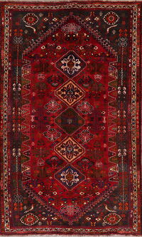 Geometric Animal Design Abadeh Red Persian Area Rug 6x9