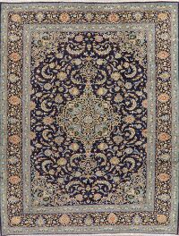 Navy Blue Floral Kashan Persian Area Rug 10x13