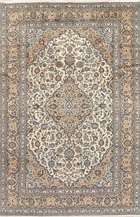 Ivory Floral Kashan Persian Area Rug 8x12