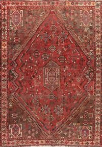 Pre-1900 Antique Tribal Qashqai Persian Area Rug 6x8