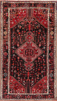 Black Tribal Hamedan Persian Area Rug 5x9
