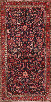 Navy Blue Floral Hamedan Persian Area Rug 5x10