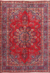Vintage Floral Mashad Red Persian Area Rug 7x9