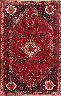 Vintage Geometric Shiraz Red Persian Area Rug 6x9