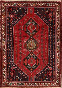 Geometric Red Abadeh Persian Area Rug 4x5