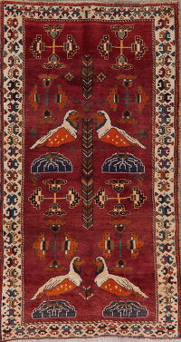 Animal Pictorial Red Gabbeh Shiraz Persian Area Rug 4x7