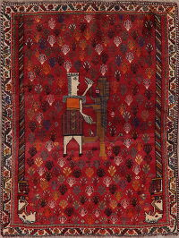 Tribal Red Pictorial Shiraz Perian Area Rug 4x5