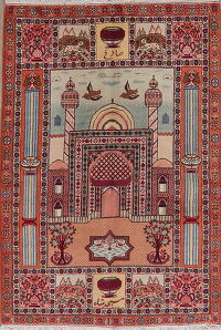 Dynasty Animal Pictorial Ardebil Persian Area Rug 4x6