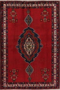 Geometric Red Sirjan Persian Area Rug 5x7
