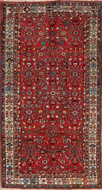 All-Over Red Geometric Hamedan Persian Area Rug 4x7