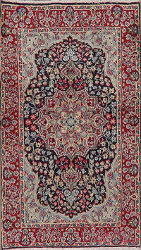 Navy Blue Floral Kerman Persian Area Rug 3x6