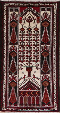 Animal Pictorial Ivory Balouch Oriental Area Rug 3x6