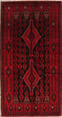 Black & Red Balouch Oriental Area Rug 4x7