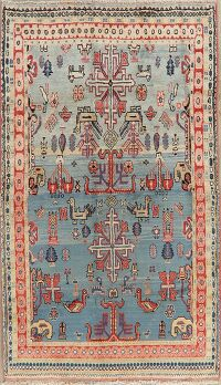 Light Blue Tribal Sultanabad Persian Area Rug 4x7
