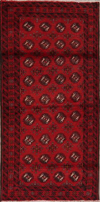 Geometric Red Balouch Oriental Area Rug 3x6