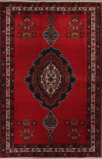 Geometric Bakhtiari Red Persian Area Rug 4x7