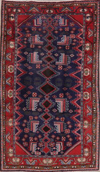 Navy Blue Tribal Geometric Mahal Persian Area Rug 4x8