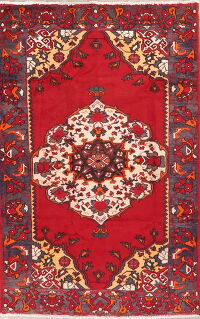 Vintage Geometric Bakhtiari Red Persian Area Rug 5x7