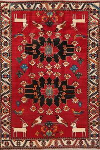 Geometric Animal Pictorial Shiraz Persian Area Rug 6x8