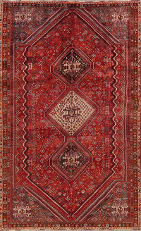 Vintage Geometric Red Abadeh Persian Area Rug 6x10