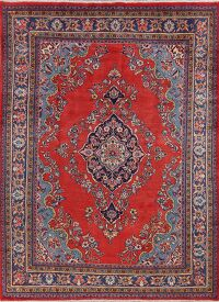 Vintage Floral Red Mahal Persian Area Rug 7x10